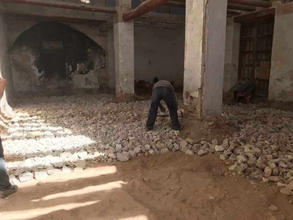 Getting ready for the first concrete layer. This is the reception...