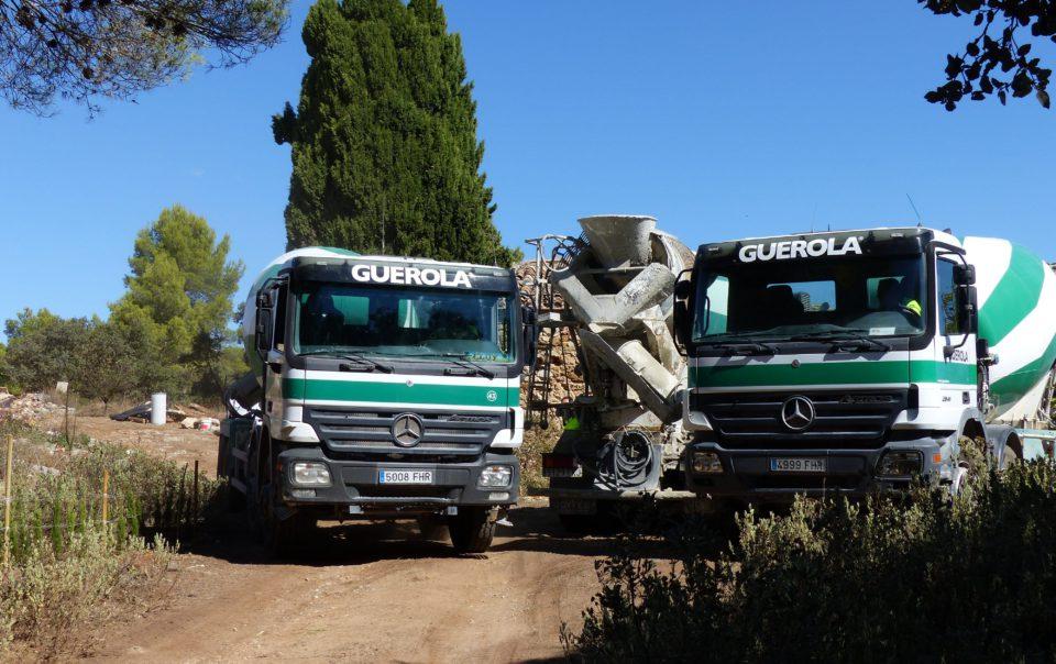 The cement trucks arrive