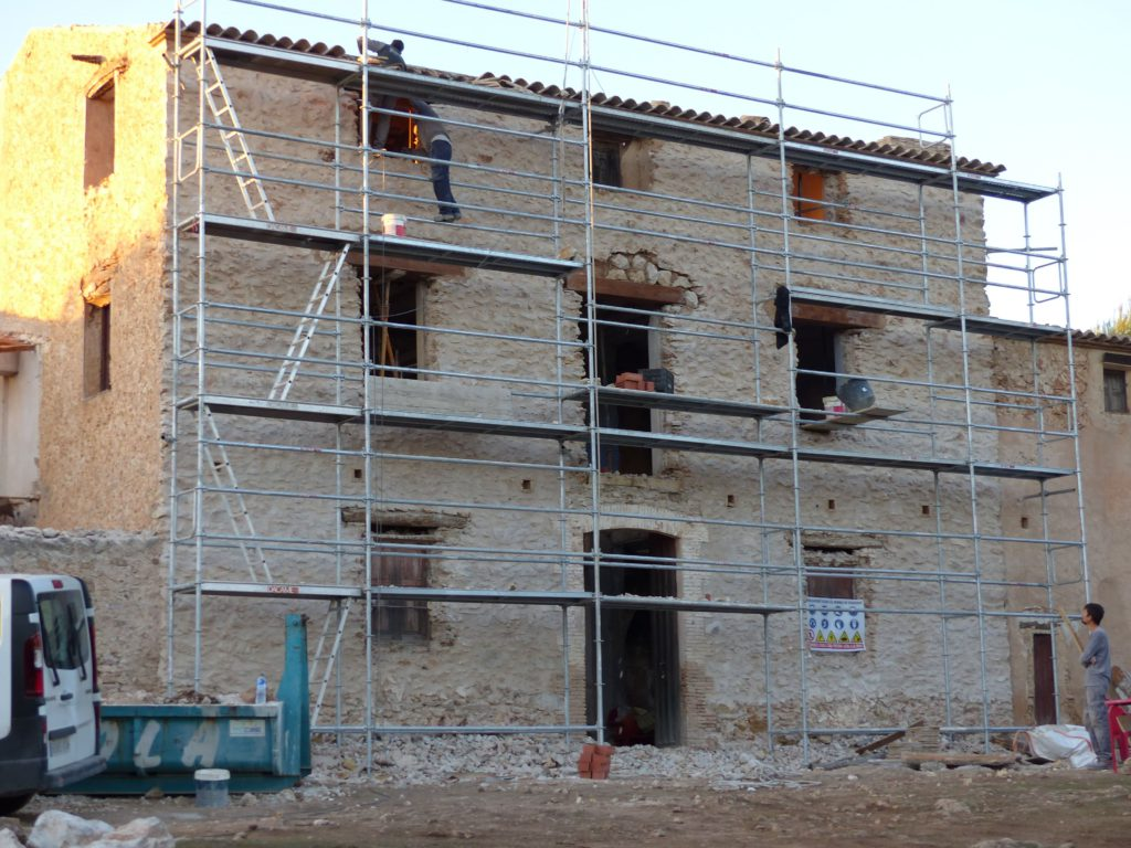 The beautiful stonework as revealed after repointing. You can also see the new lintels in the first floor windows.