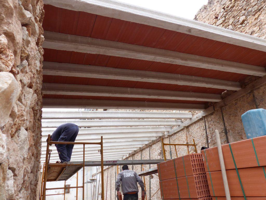 The storeroom roof in progress