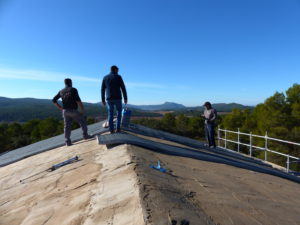 Adding roof insulation on a beautiful December day
