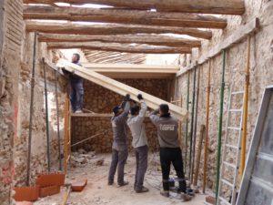 Installing the new floor beams